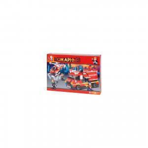 Конструктор Пожарный: Вертолёт и пожарная машина с цистерной, 409 деталей, Sluban