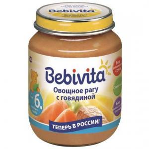 Пюре  овощное рагу с говядиной 6 месяцев, 100 г Bebivita