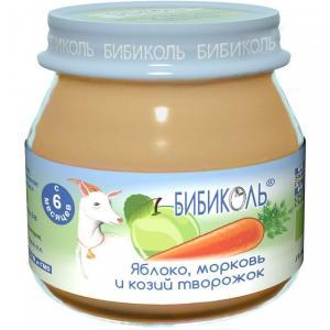 Пюре  яблоко/морковь и козий творожок с 8 месяцев, 80 г Бибиколь