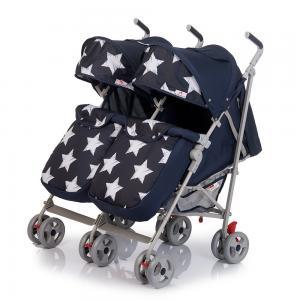 Прогулочная коляска для двойни  Twicey, цвет: темно-синий/звезды BabyHit