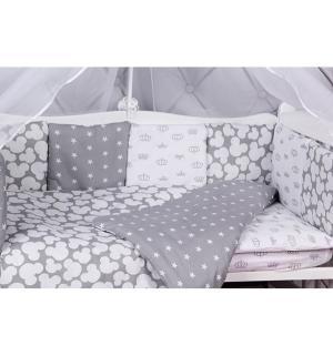 Бортик в кроватку  Silver, цвет: белый/серый Amarobaby