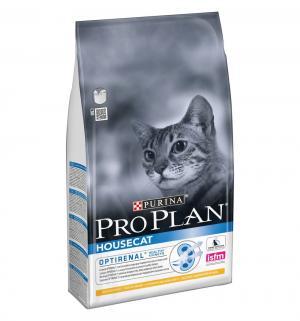 Сухой корм  Optirenal House Cat для взрослых кошек при домашнем содержании, курица, 1.5кг Pro Plan