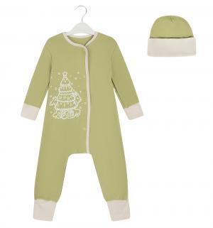 Комплект комбинезон/шапка  Елочка, цвет: зеленый Bambinizon