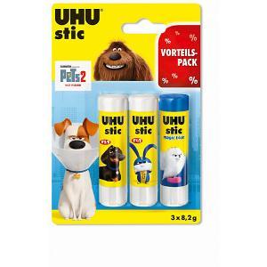 Клей-карандаш  Домашние животные 2, 3 штуки UHU. Цвет: разноцветный