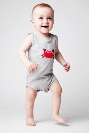 Комплект боди 3 шт , цвет: серый/синий Hudson Baby