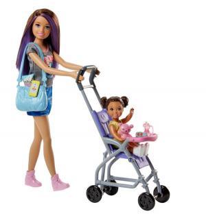 Игровой набор  Няня шатенка, серый топ, синяя юбка Barbie