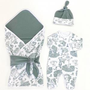 Комплект на выписку  летний (комбинезон, шапочка, плед, лента) Оленята СуперМаМкет
