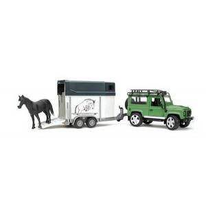 Внедорожник  Land Rover Defender с прицепом и лошадью Bruder