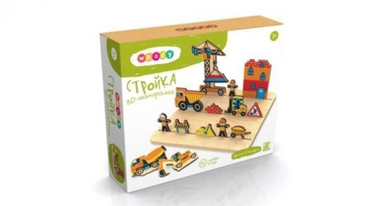 Деревянная игрушка  3D-панорама Стройка Woody