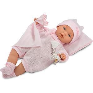 Кукла-пупс  Жоель в розовом 38 см, со звуком Llorens. Цвет: розовый