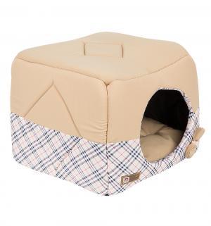 Лежанка для кошек  Домосед, цвет: бежевая клетка, 45*45*45см Зоогурман