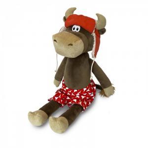 Мягкая игрушка  Бычок Федот в шапке-ушанке и красных трусах 28 см Maxitoys
