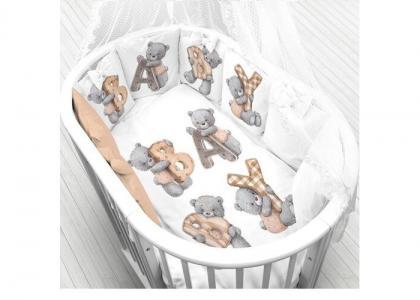 Комплект в кроватку  Мишка с буквами (6 предметов) Луняшки