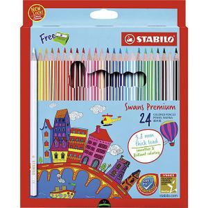 Набор цветных карандашей Stabilo Swans Premium edition, 24 цвета. Цвет: разноцветный