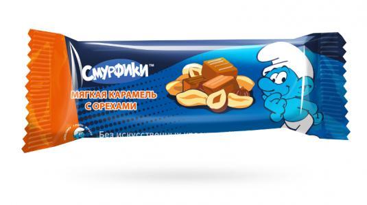 Конфета-батоник  глазированный мягкая карамель с орехами, 40 г, 1 шт Смурфики