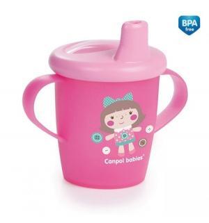 Поильник-непроливайка  Toys с мягким носиком, 9 месяцев, цвет: розовый Canpol