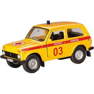 Коллекционная машинка  Lada 4х4 Скорая помощь 1:36, желтая Autotime. Цвет: желтый