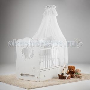 Детская кроватка  Птенчики маятник поперечный с ящиком Островок уюта