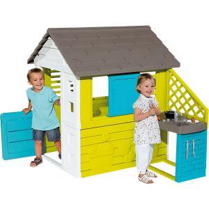 Игровой домик с кухней, синий, 145*110*127 см, Smoby