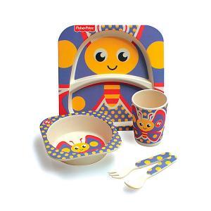 Набор детской бамбуковой посуды Fisher-Price Бабочка Mattel. Цвет: фиолетовый