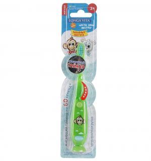 Зубная щетка  Забавные зверята мигающая, цвет: зеленый Longa Vita