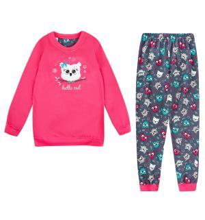 Пижама джемпер/брюки  Owl, цвет: розовый/серый Cornette