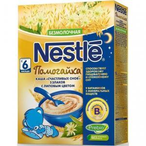 Каша  безмолочная счастливых снов 5 злаков с липовым цветом Помогайка 6 месяцев 200 г Nestle