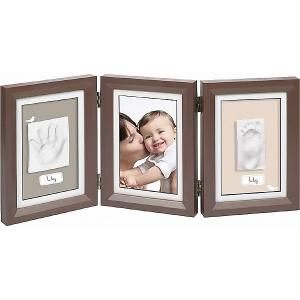 Рамка  Для слепка и фотографии: классика, тройная, коричневая Baby Art. Цвет: коричневый