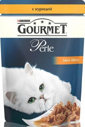 Корм влажный  Perle для взрослых кошек, курица, 85г Gourmet
