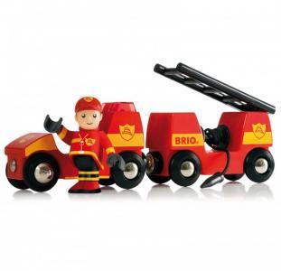 Набор для деревянной ж/д Пожарная машина (свет, звук) Brio