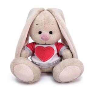 Мягкая игрушка  Зайка Ми в белой толстовке с сердцем 15 см цвет: серый/розовый Budi Basa