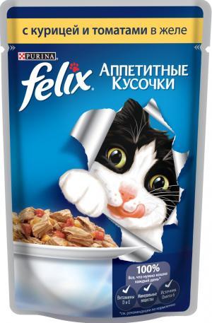 Корм влажный  Аппетитные кусочки для взрослых кошек, курица/томат, 85г Felix