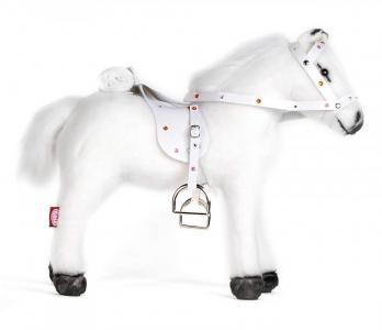 Мягкая игрушка  Белая лошадь с седлом и уздечкой со звуком Gotz