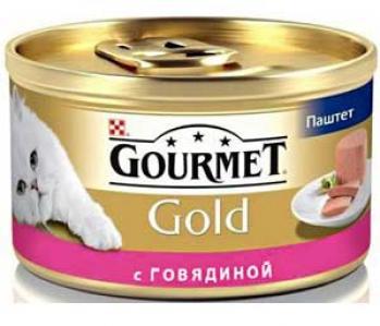 Корм влажный  Gold для взрослых кошек, говядина, 85г Gourmet