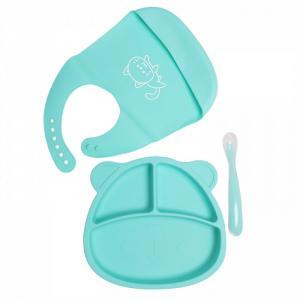 Комплект детской посуды из силикона: тарелка с ложкой и нагрудник Baby Nice (ОТК)