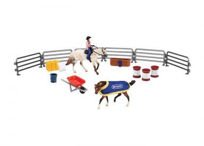 Игровой набор Вестерн из двух лошадей наездника и аксессуаров Breyer