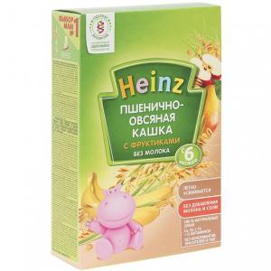 Каша  безмолочная пшенично-овсяная с фруктами 6 месяцев 200 г Heinz