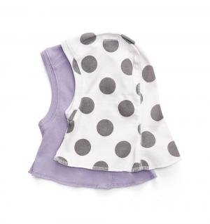 Комплект  шапка 2 шт, цвет: белый/фиолетовый Happy Baby