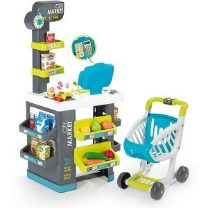 Игровой набор  City Market Супермаркет с тележкой, 34 предмета Smoby