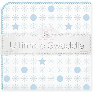 Фланелевая пеленка  Stars Blue, 110х110 см SwaddleDesigns. Цвет: голубой/белый