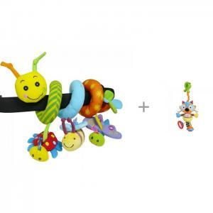 Развивающая спираль Гусеница и друзья с подвесной игрушкой на прищепке Крошка енот Biba Toys