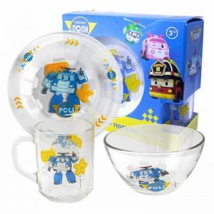 ND Play Набор матовой стеклянной посуды Робокар Поли (3 предмета)