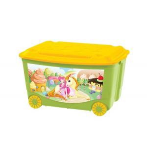 Ящик для игрушек  на колесах с аппликацией, цвет: зеленый Бытпласт