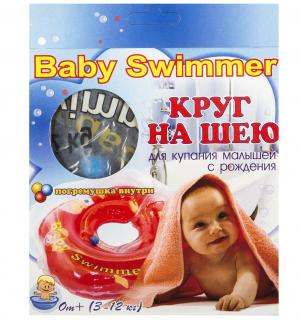 Круг на шею + погремушка , цвет: голубой Baby Swimmer
