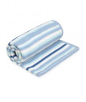 Одеяло  в полоску вязаное, цвет: синий Mothercare