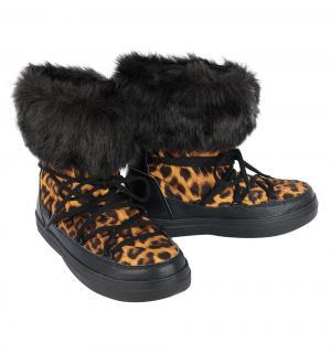 Унты  LodgePoint Lace Boot W Leopard/Black, цвет: черный Crocs