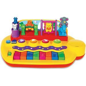 Развивающая игрушка Пианино с животными на качелях Kiddieland. Цвет: желтый