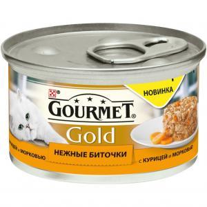Корм влажный  Gold Нежные биточки для взрослых кошек, курица/морковь, 85г Gourmet