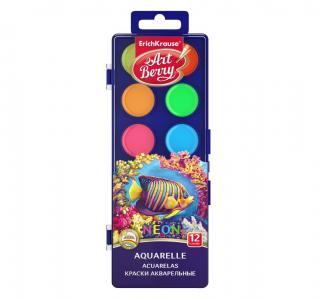 Краски акварельные  Неон 12 цв. УФ защита яркости ArtBerry