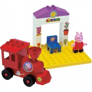 Конструктор Поезд с остановкой, Свинка Пеппа, 15 деталей BIG